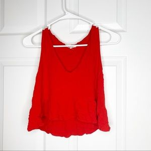 Honey Bell red tank crop top size small